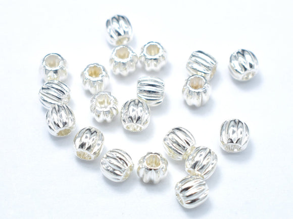 4mm 925 Sterling Silver Beads, 4mm Round Beads, 10pcs-BeadBeyond