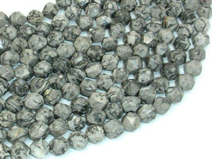 Gray Picture Jasper Beads, 8mm Star Cut Faceted Round