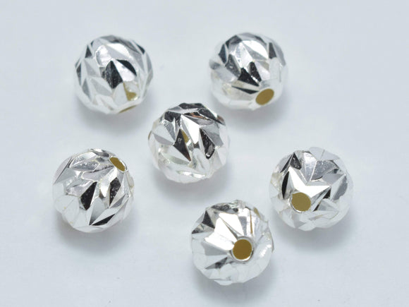 6pcs 6mm 925 Sterling Silver Beads, 6mm Faceted Round Beads-BeadBeyond