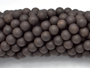 Matte Black Sandalwood Beads, 8mm Round-BeadBeyond