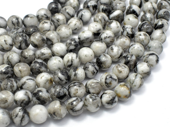 White Zebra Jasper, 8mm (8.3mm) Round Beads