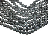 Black Lava, 12mm Coin Beads, 14.5 Inch-BeadBeyond