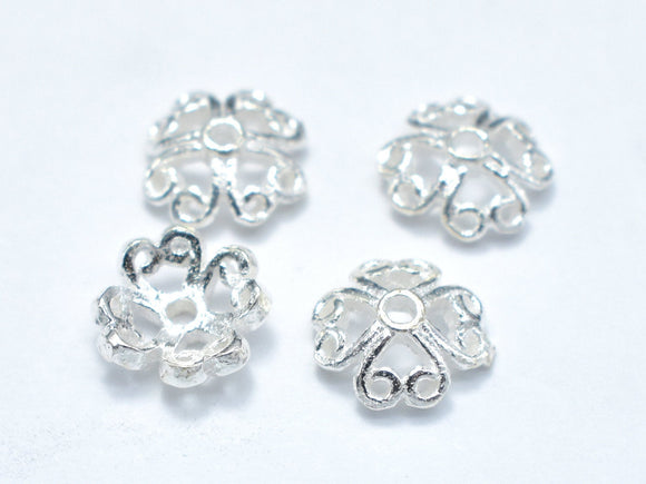 7.5mm 925 Sterling Silver Bead Caps, 7.5x2.5mm Flower Bead Caps, 10pcs-BeadBeyond