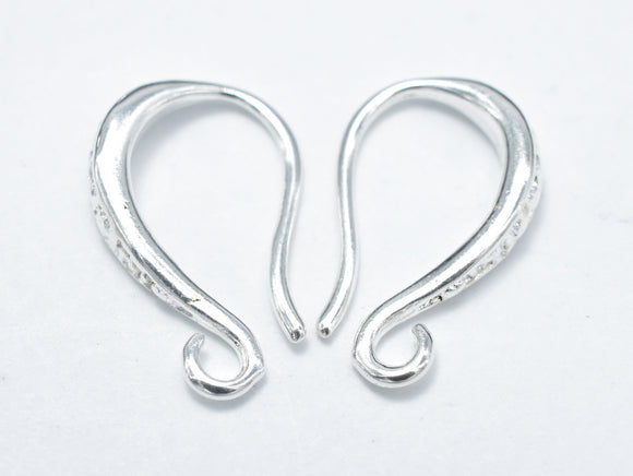 10pcs Earing Hooks, Fishhook, Silver Plated, 9x15mm, Hole 1.5mm-BeadBeyond