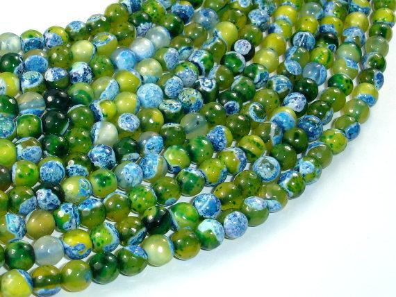 Agate Beads, Blue & Green, 6mm Faceted Round