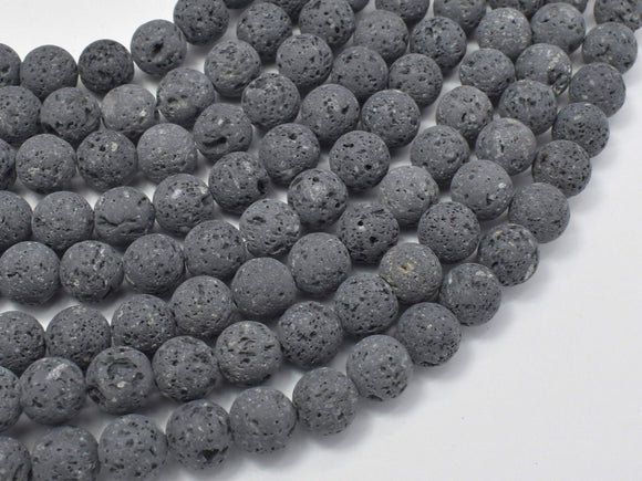 Unwaxed Black Gray Lava, 10mm (10.5mm) Round-BeadBeyond