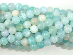 Banded Agate Beads, Light Blue, 6mm-BeadBeyond