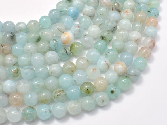 Jade Beads-Aqua Blue, 8mm (8.5mm) Round-BeadBeyond