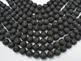 Black Lava Beads, 14mm Round Beads