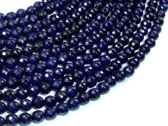 Dark Blue Jade Beads, 6mm Faceted Round Beads-BeadBeyond