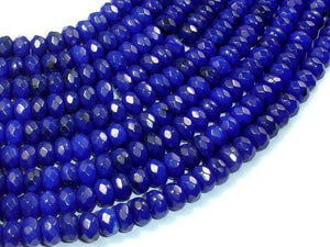 Dark Blue Jade, Approx 5x8mm Faceted Rondelle-BeadBeyond