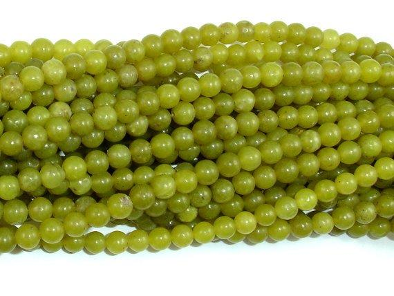 Olive Jade Beads, 4mm Round Beads-BeadBeyond