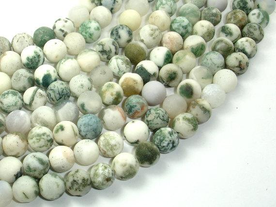 Matte Tree Agate Beads, 8mm Round Beads-BeadBeyond