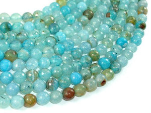 Light Blue Dragon Vein Agate Beads, 8mm Faceted Round-BeadBeyond