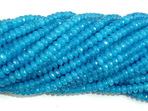 Blue Jade Beads, Faceted Rondelle, Approx 2 x 4 mm-BeadBeyond