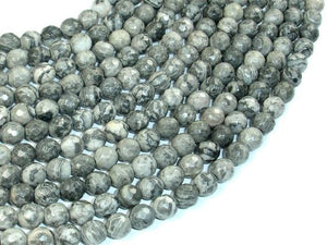 Gray Picture Jasper Beads, 6mm Faceted Round Beads-BeadBeyond