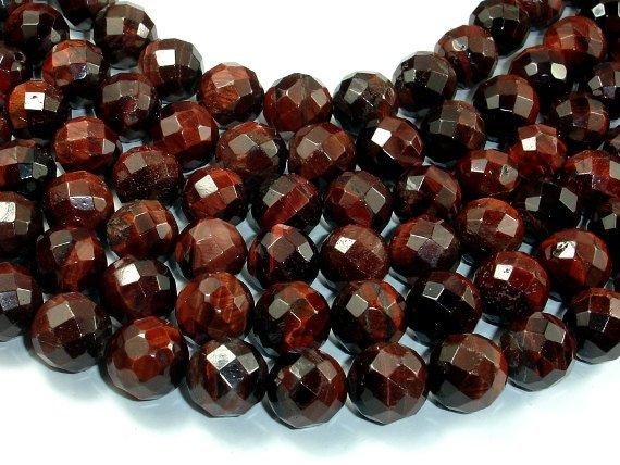 Red Tiger Eye Beads, 12mm Faceted Round Beads-BeadBeyond