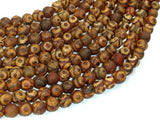 Matte Tibetan Agate Beads, 8mm Round Beads-BeadBeyond