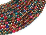 Mosaic Stone Beads, Multicolor, 6mm Round Beads-BeadBeyond