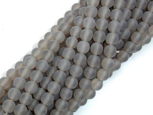 Matte Gray Agate Beads, 6mm Round Beads-BeadBeyond