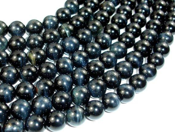 Blue Tiger Eye Beads, 9mm (9.3mm) Round Beads-BeadBeyond