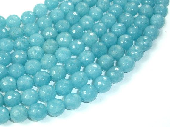 Blue Sponge Quartz Beads, 10mm Faceted Round Beads-BeadBeyond