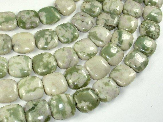 Peace Jade Beads, 15x15mm Square Beads-BeadBeyond