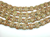 Chinese Unakite Beads, 15x19mm Flat Barrel Double Hole Beads with 6mm Round Beads-BeadBeyond
