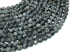 Black Labradorite, Larvikite, 6mm Faceted Round Beads, 14 Inch-BeadBeyond