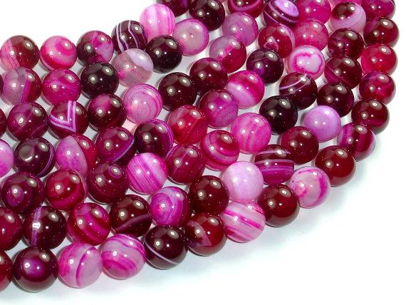 Banded Agate Beads, Striped Agate, Fuchsia, 10mm Round Beads-BeadBeyond