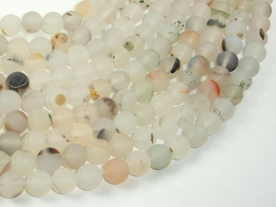 Frosted Matte Agate-White, Gray, 8mm Round Beads-BeadBeyond
