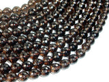 Smoky Quartz Beads, 8mm Faceted Round Beads-BeadBeyond