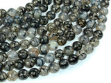 Dragon Vein Agate Beads, Black & White, 8mm Round Beads-BeadBeyond