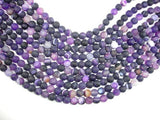 Matte Banded Agate Beads, Purple, 8mm Round Beads-BeadBeyond