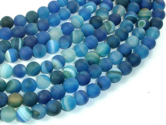 Matte Banded Agate Beads, Blue, 8mm(8.5mm) Round Beads, 15.5 Inch