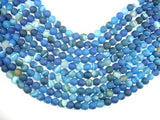 Matte Banded Agate Beads, Blue, 8mm Round Beads-BeadBeyond