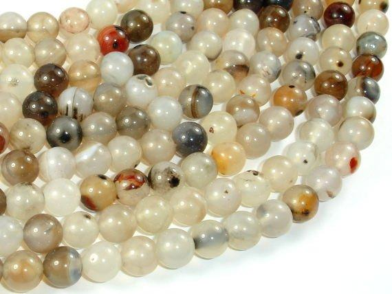 Agate-White, Gray, 8mm Round Beads, 15 Inch-BeadBeyond