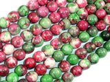 Rain Flower Stone, Red, Green, 8mm Round Beads-BeadBeyond