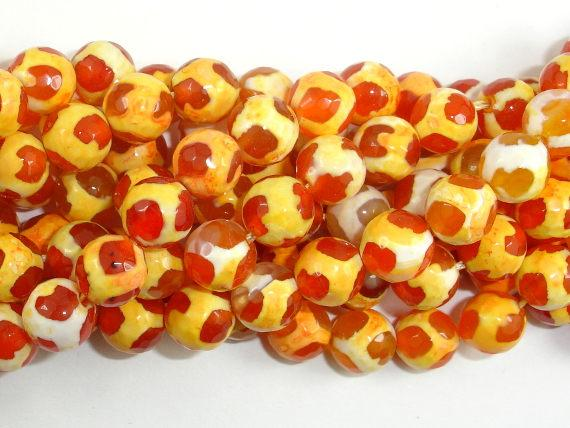 Tibetan Agate Beads, Orange, Faceted Round-BeadBeyond