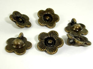 Flower Charms, Zinc Alloy, Antique Brass Tone 20pcs-BeadBeyond