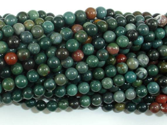 Indian Bloodstone Beads, Round, 5mm-BeadBeyond