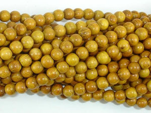 Yellow Wood Beads, Nangka Wood Beads, 6mm(5.8mm) Round Beads, 23 Inch-BeadBeyond