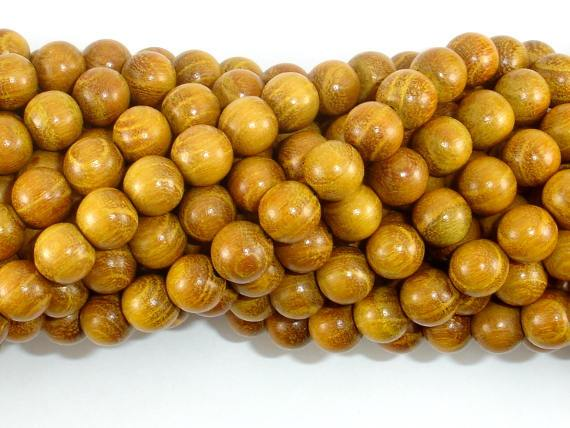Yellow Wood Beads, Nangka Wood Beads, 8mm(7.8mm) Round Beads, 32 Inch-BeadBeyond