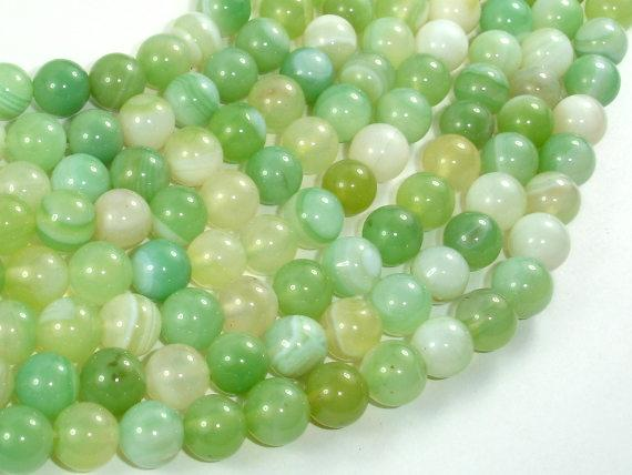 Banded Agate Beads, Light Green, 8mm Round Beads-BeadBeyond