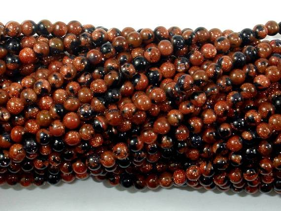 Gold Blue Sand Stone Beads, 4mm Round Beads-BeadBeyond