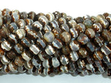 Tibetan Agate Beads, Brown, 6mm Faceted Round Beads-BeadBeyond