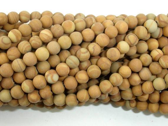 Matte Wood Jasper Beads, 4mm, Round Beads-BeadBeyond