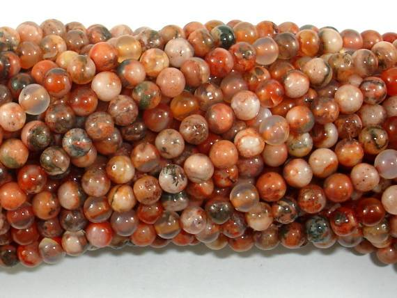 Agate Beads, Orange, 4mm(4.3mm) Round Beads-BeadBeyond