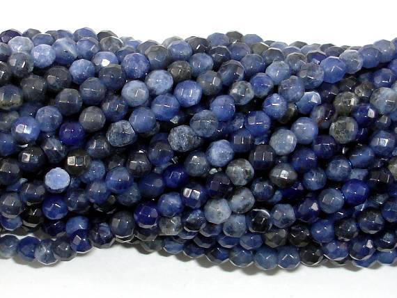 Sodalite Beads, 4mm Faceted Round Beads-BeadBeyond