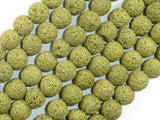 Peridot color Lava Beads, 10mm Round Beads-BeadBeyond